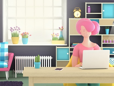 Work in progress 3d character pink computer cute table room house girl illustration
