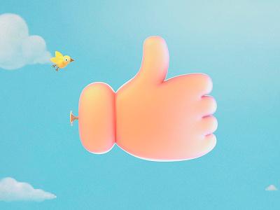 Like Balloon clouds art sky render illustration bird button like balloon 3d