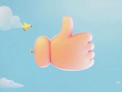 Like Balloon clouds art sky render illustration bird button like balloon 3d