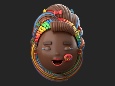 Rocklets Easter Egg Girl colors teen egg easter candy chocolate girl character illustration render 3d