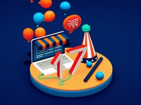 17% of America's Ecommerce! compositon balloon numbers laptop ecommerce usa charts isometric design illustration render 3d