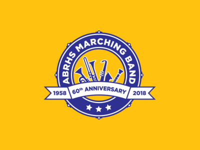 ABRHS Marching Band 60th Anniversary Logo percussion trombone trumpet drum drumhead saxophone clarinet sousaphone tuba marching high school emblem band marching band design logo