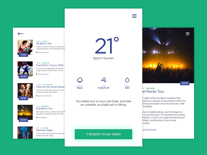Weather & Events App (Free PSD) creative minimal clean ux ui events weather app