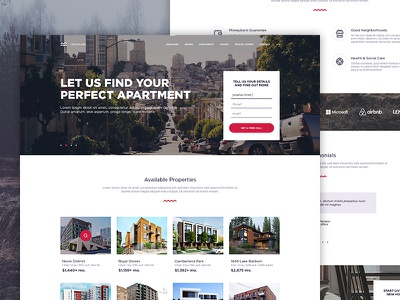 Real Estate - Main Page creative clean home landing agency estate real design web ui