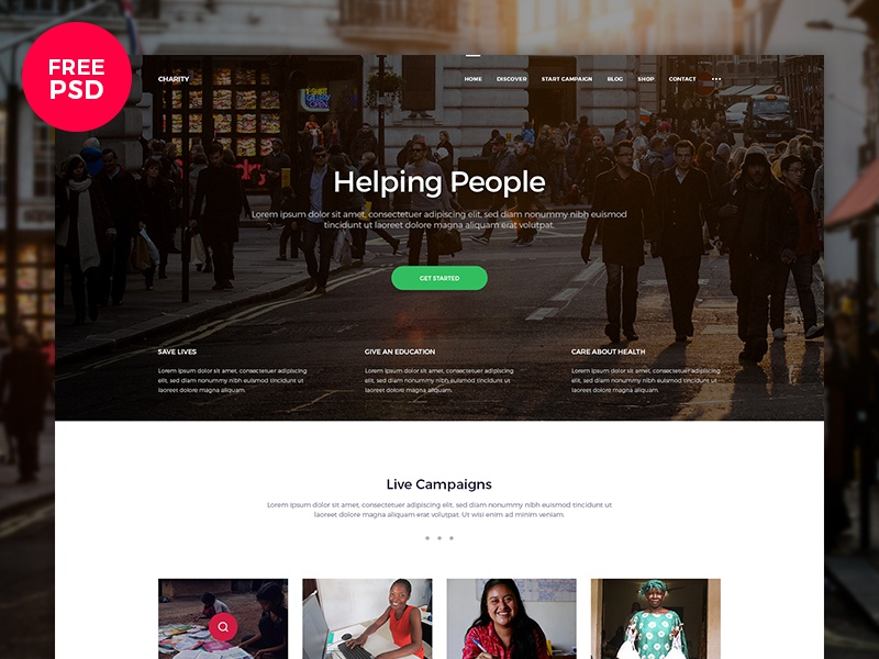 Charity Website — Free PSD freebie psd free charity web ui page minimalist landing home design clean