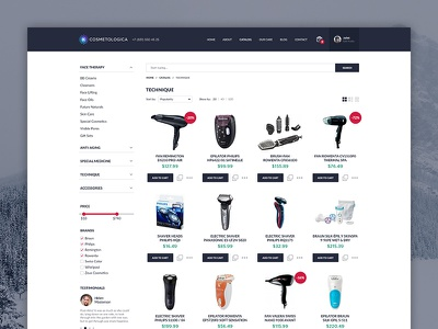 Cosmetics Shop — Catalog web ui page listing cosmetics store shop catalog minimalist design clean ecommerce
