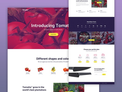 Tomatto — Landing page vegetable creative ecommerce page home minimalist ux clean web ui landing tomato