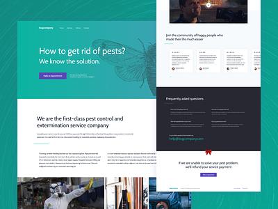 Pest control Landing page home page green pest ux creative landing design minimalist clean web ui