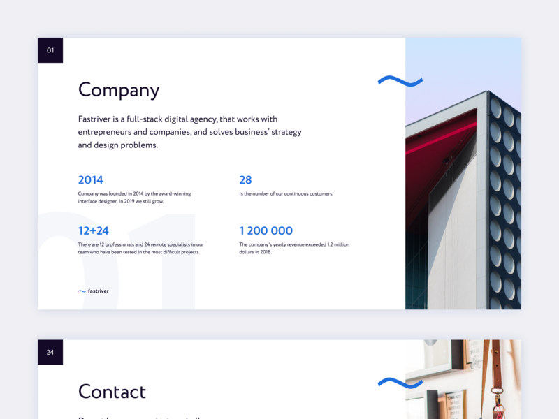 Presentation Slides contact about slide presentation agency creative design minimalist clean ui
