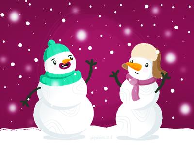 Friends snowmen
