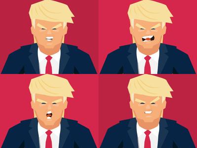 Trump expressions portrait clinton hillary avatar illustration donaldtrump trump