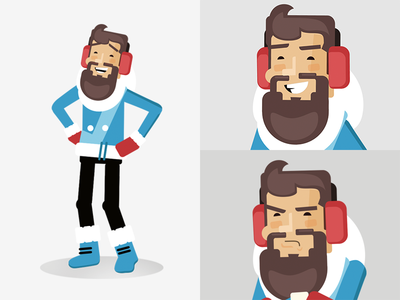 Eskimo winter illustration hipster guy eskimo design character beard avatar animation