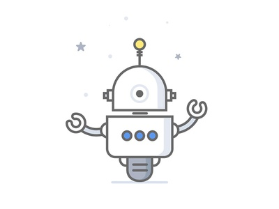 Flat Robot  robot mascotte illustration flat character 2d