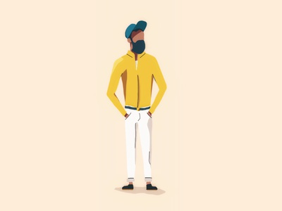 Illustration of a guy guy character avatar illustration beard hipster handdrawn