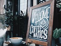 Coffeenatics greeting Signboard