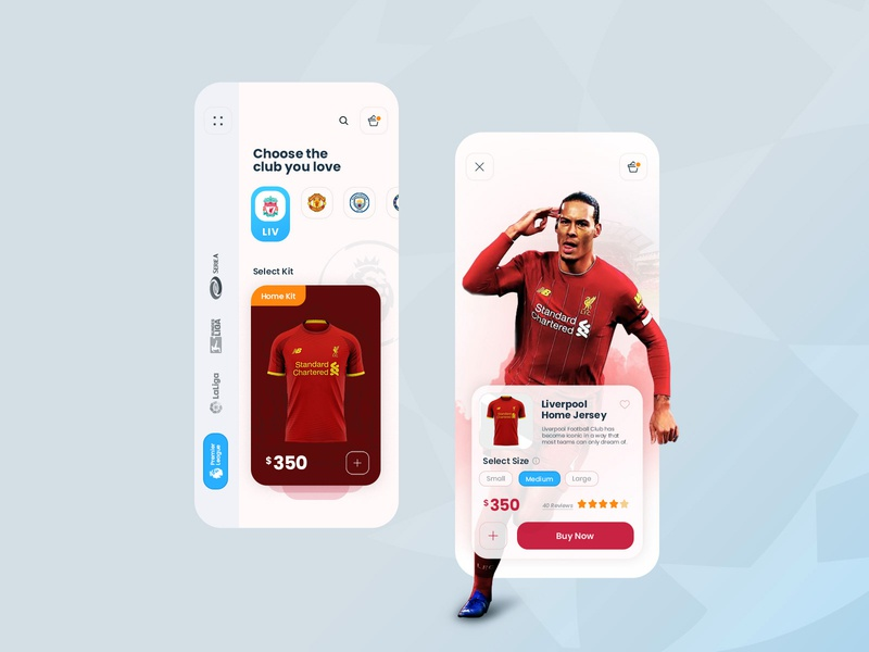 Fifa Club Kit - UI Concept football web android ios manchester city manchester united liverpool app soccer fifa branding product ecommerce minimal experience design user interface ui ux