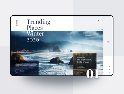 Tourism Website - UI Concept concept photography nature inspiration usa minimalistic travel interface web branding website product minimal homepage experience user design ux ui