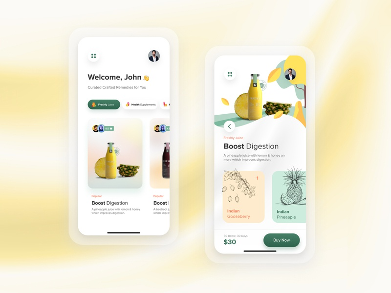 O2 Superfoods | UI Concept drinks health juice colorful minimal shot best dribbble simple concept app branding homepage user experience interface ux ui design subscription