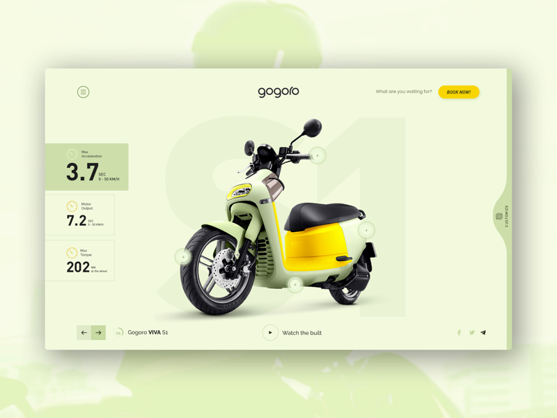 Gogoro- Product Showcase Page interface design web bike ui minimal automobile dribbble user interface website