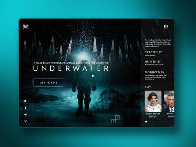 Underwater Movie Concept | Daily UI movie interface user trailer booking ticket homepage hbo netflix cinema underwater web ux ui design website