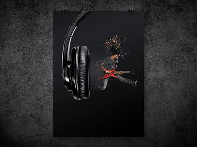 Headphone ad print advertising concept print rock music headphone