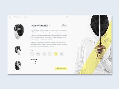 Single Product UI sport fencing web shop design ui daily ui 012 adobe xd