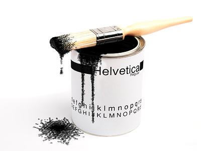 Helvetica can print typogaphy illustration concept