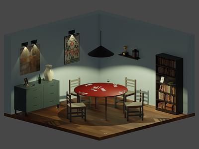 Poker room poker blender 3d