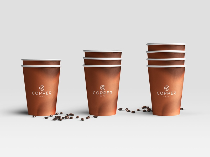 Copper Coffee Shop concept cups packaging typography illustration vector c letter identity brand icon branding logo