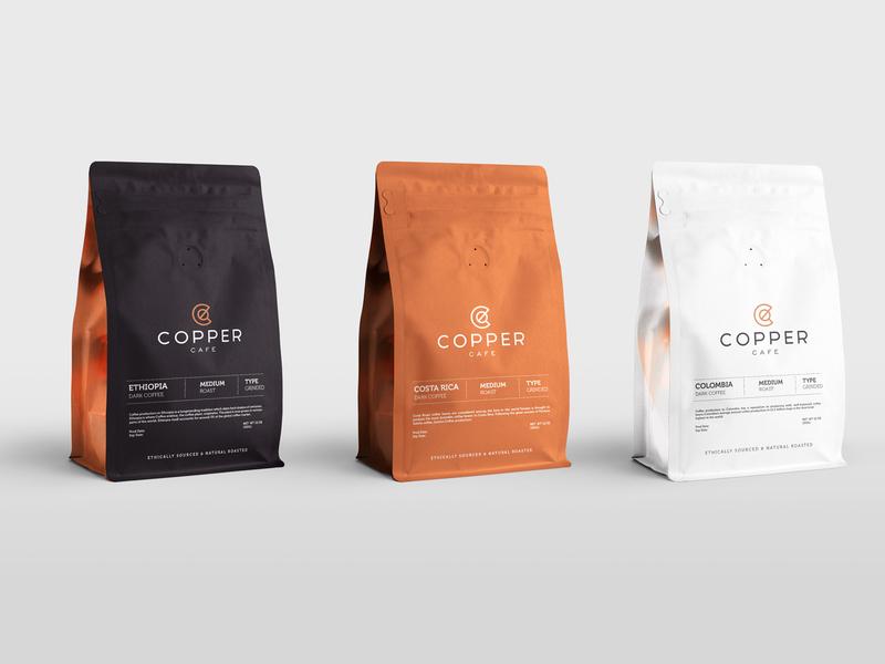 Copper Coffee shop design typography packaging illustration identity stationary icon brand branding logo