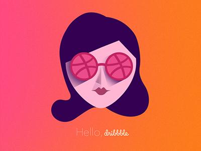 Hello Dribbble! ball dribbble gradient vectorial illustration debut