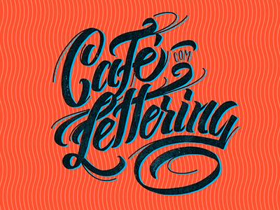 Café com Lettering Logo texture orange lettering