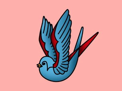 Old School Tattoo Swallow tattoo drawing illustration icons