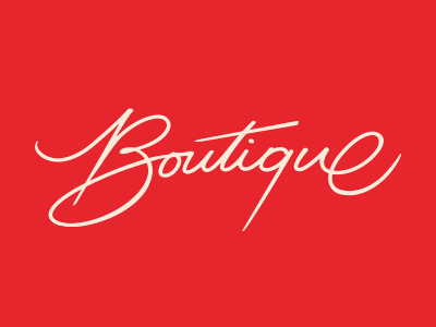 Boutique handwriting logo glamour red lettering
