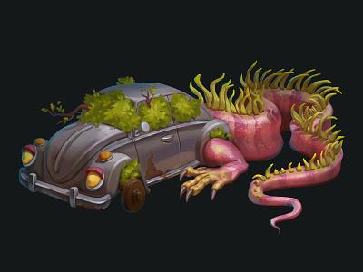 Dragon Car iguana digitalart props dragon car illustration game design game art concept art concept