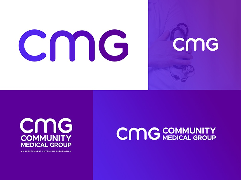 Community Medical Group Logo wellness health doctors medical style tile brand identity letterforms gradient logotype branding logo