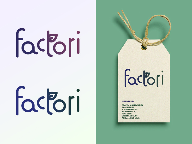 Factori Final Logo organic natural wellness health smoothie packaging tag label custom type letterforms branding logo