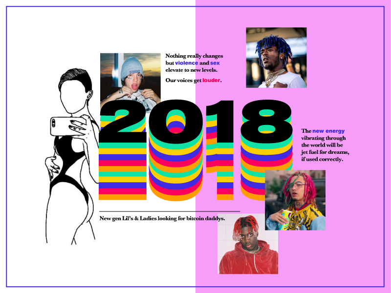 2018 Predictions bold modern typography energy rapper trend color static design prediction 2018 digital