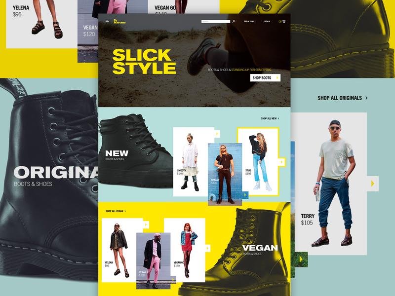 Doc Martens Redesign docs dr martens modern layout fashion sketch web design web homepage page comp ecommerce ui