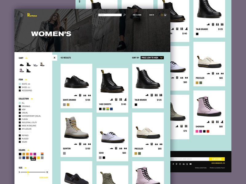 Doc's Product Category Page page comp punk ecommerce shoes product cards product filter filter product listing web design web ux ui product page product category docs dr martens