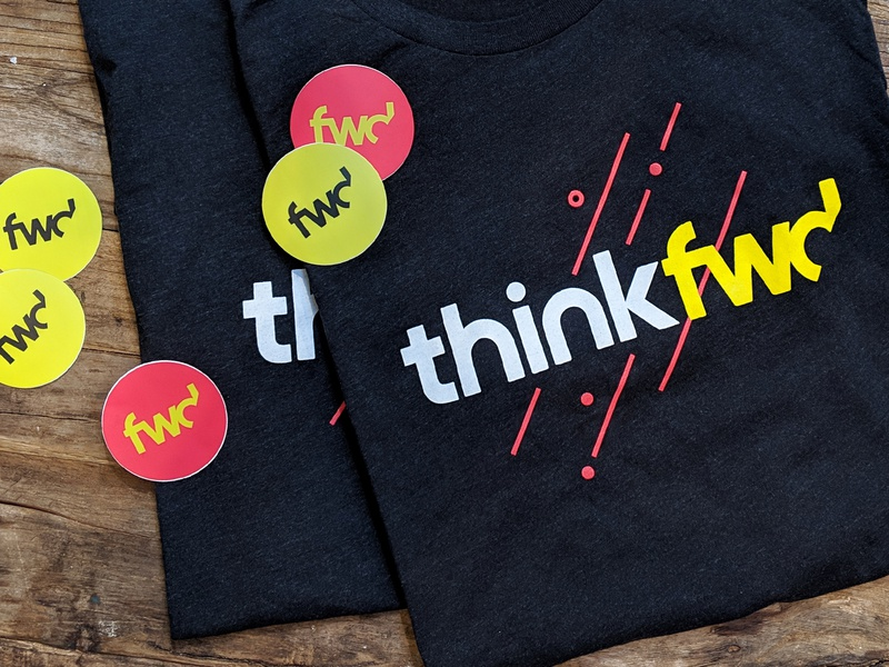 thinkfwd swagger / tees & stickers typography creative thinking education design event brand design creative company design thinking identity logo branding curiosity innovation sticker stickers thinkfwd shirt design tshirt tee swag