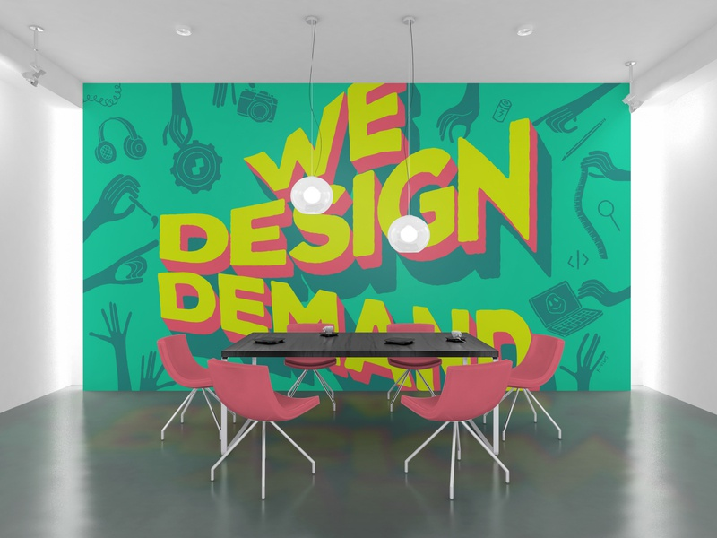 We Design Demand / Dec 2019 wall teamwork collaboration community design demand ds type wall illustration design colorful big type doodles illustrator tagline pop art typography digital surgeons wall art mural demand illustration