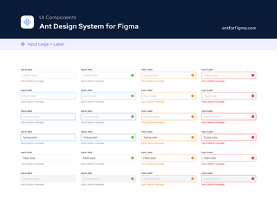 UI Components - Ant Design System for Figma form design form field design systems success warning error states input uidesign ui kit figma ant design design system ui components