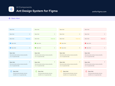 UI Components - Ant Design System for Figma ant design components design systems figma ui kit state error warning success alert ui components design system