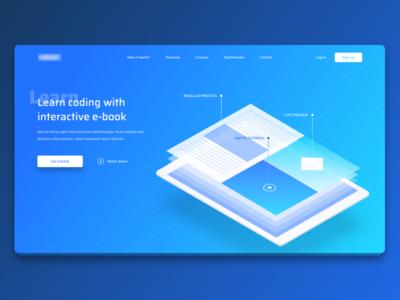 Interactive e-book Landing Page figma web hero dashboard e-book front-end minimalistic gradient page landing ui