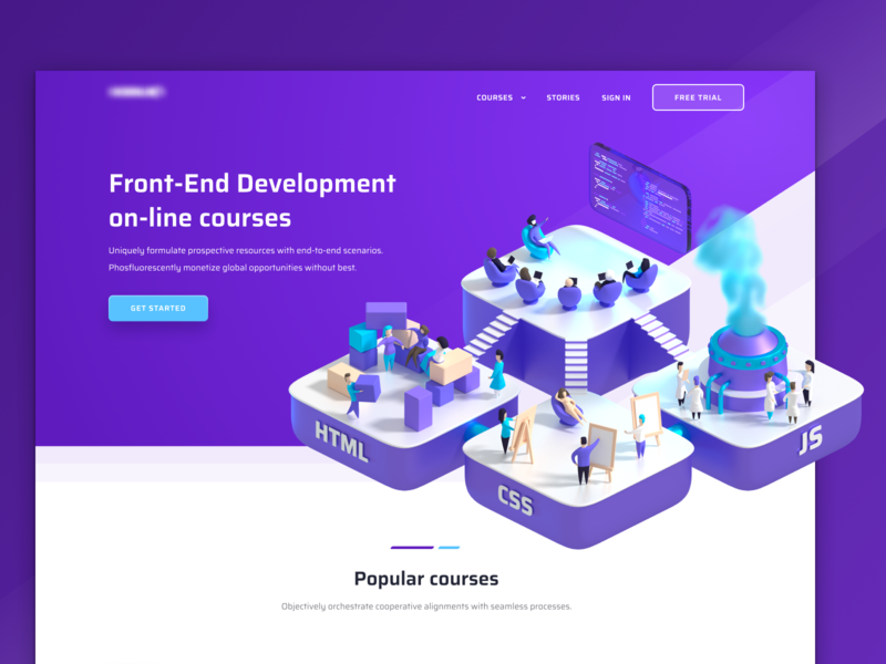 Hero Section Concept header coding code courses poland illustration 3d hero section javascript css html frontend ui figma