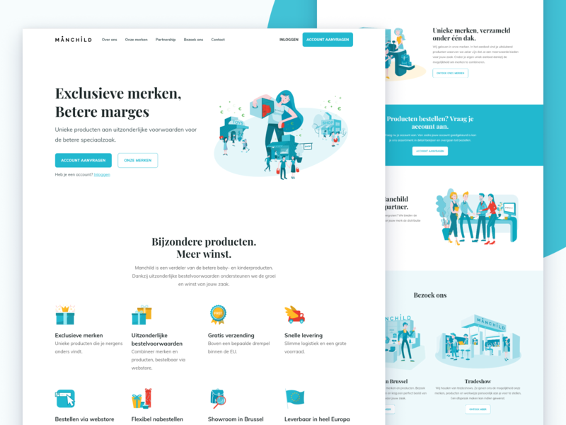 Manchild belgium landing page website illustration shop distributor javascript html css webflow figma toys ui ux local business