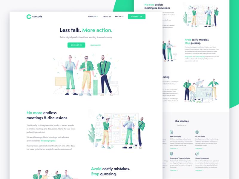 Concuria startup development ecommerce ui ux rapid prototyping webflow figma html css illustration design sprint landing page belgium