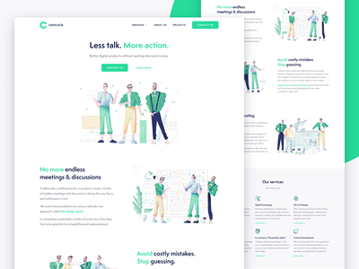 Concuria startup development ecommerce ui ux rapid prototyping webflow figma html css illustration design sprint landing page belgium
