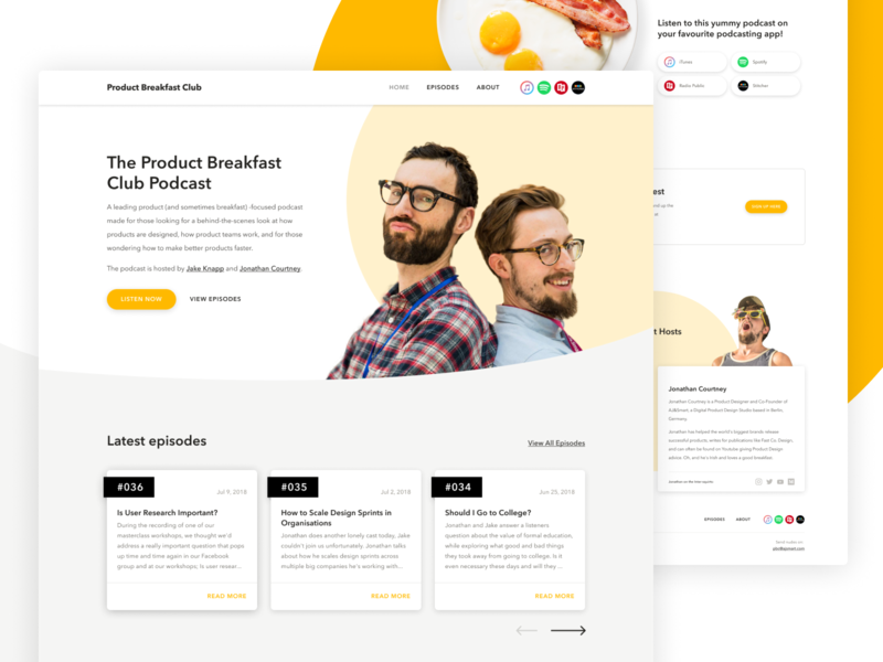 The Product Breakfast Club Podcast podcasts ui ux rapid prototyping landing page website webflow figma innovation google ventures design sprint podcast